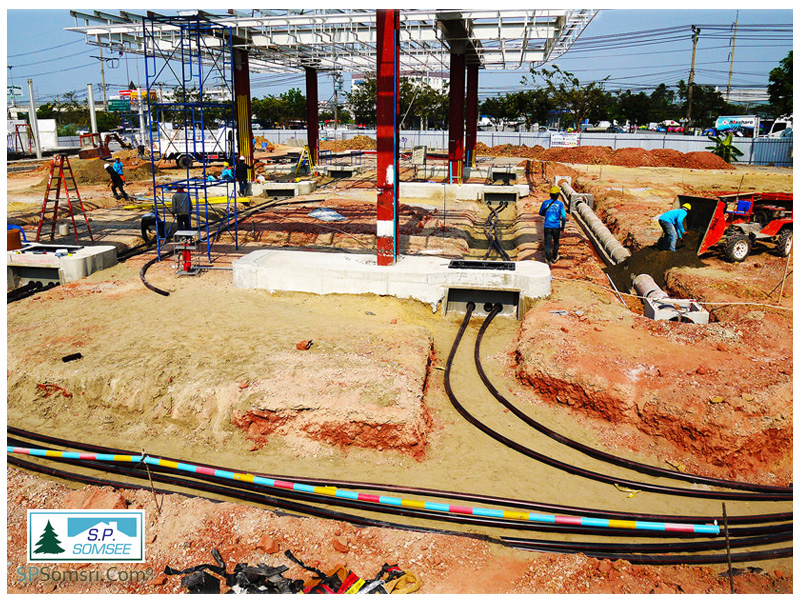 งานก่อสร้างสถานีบริการน้ำมัน บางจากสาขาถนนกาญจนาภิเษก